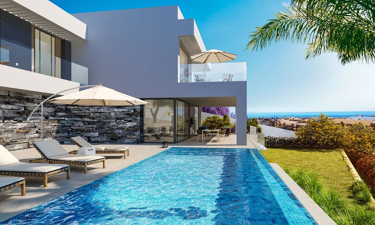 Large new modern luxury villas for sale, in a prestigious golf resort and with panoramic sea views, Benahavis - Marbella 5914