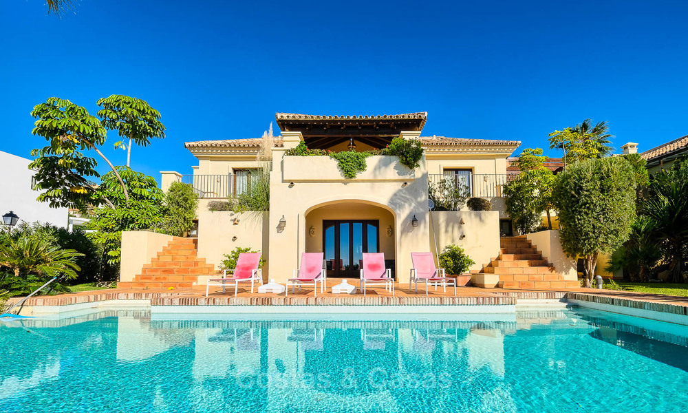 Charming and spacious classical style villa with sea views for sale, gated community, Benahavis - Marbella 7121