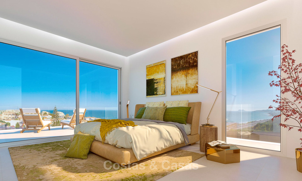 Stunning new contemporary-style townhouses with sea views for sale, in a prestigious resort - Mijas Costa, Costa del Sol 7621