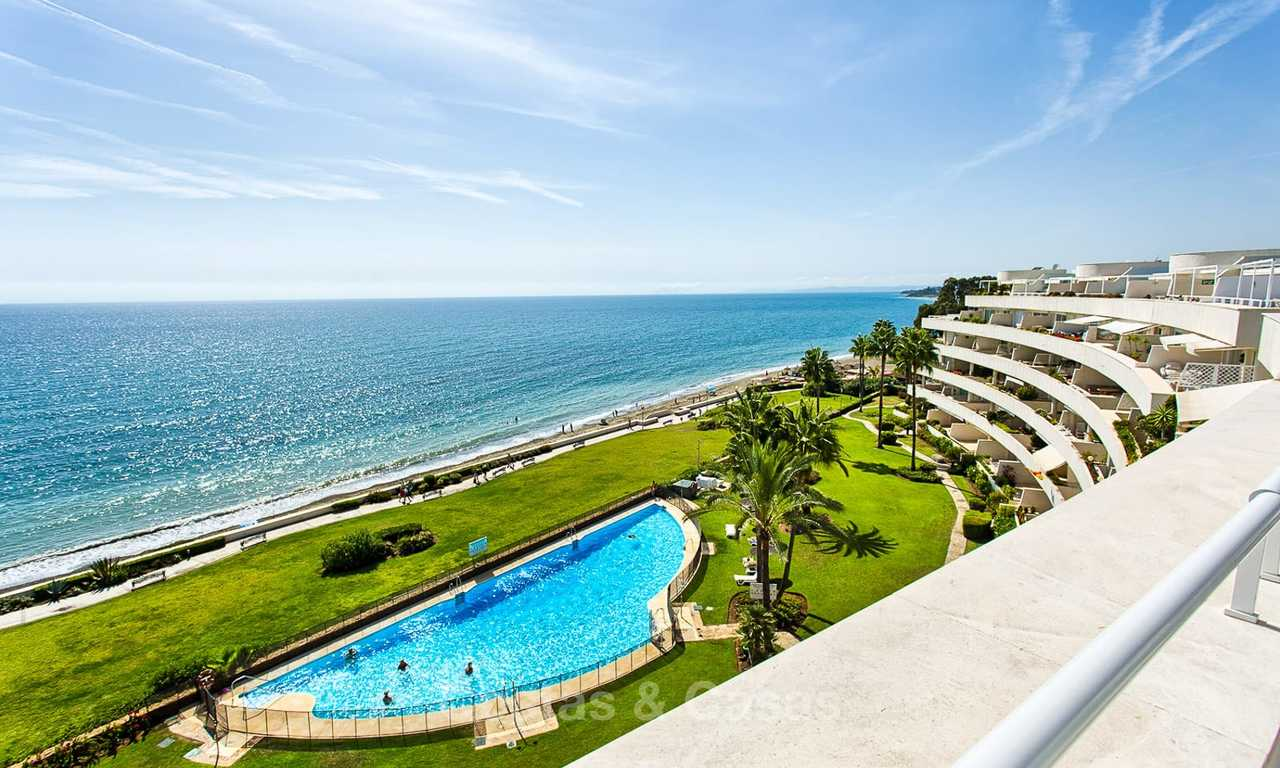 Outstanding front line beach penthouse apartment with private heated pool for sale in a luxury complex on the New Golden Mile, Marbella - Estepona 7859