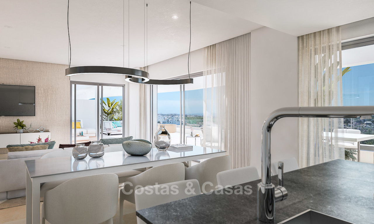 Attractive new modern apartments for sale, with sea views, next to a top-class 18-hole golf course, Estepona 8059