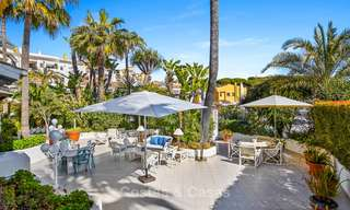 Charming, very spacious duplex ground floor apartment for sale, frontline beach and marina in Cabopino, East Marbella 10255