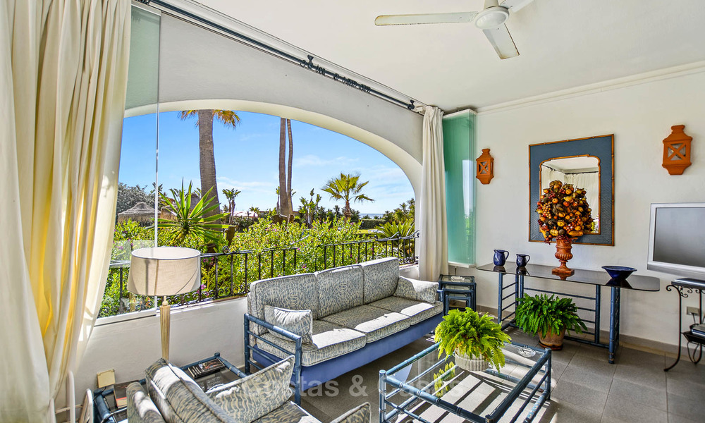 Charming, very spacious duplex ground floor apartment for sale, frontline beach and marina in Cabopino, East Marbella 10258