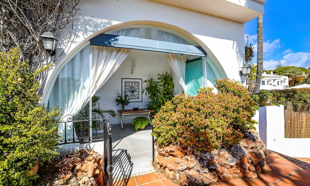 Charming, very spacious duplex ground floor apartment for sale, frontline beach and marina in Cabopino, East Marbella 10260