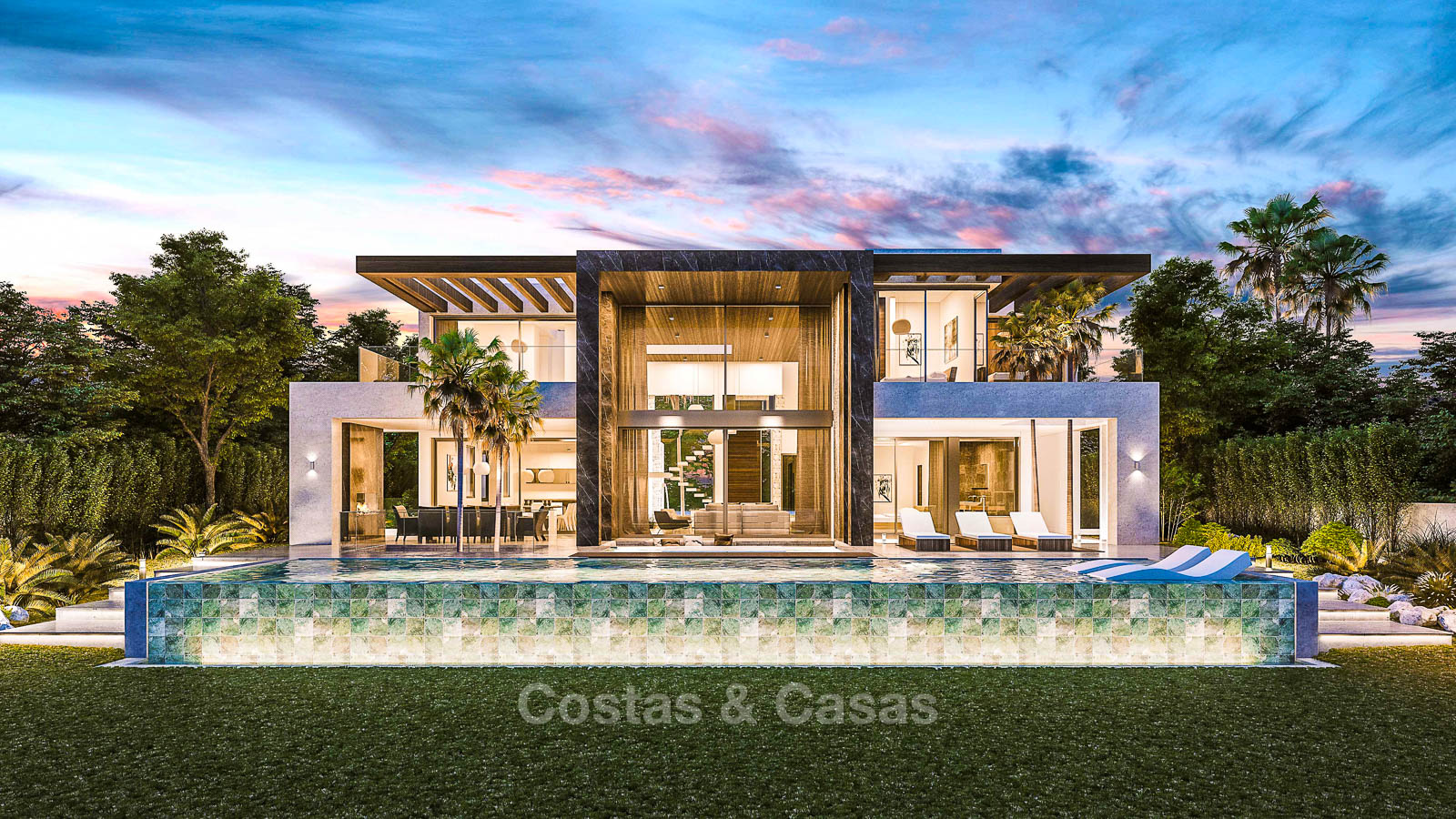 Eye catching contemporary style villa for sale on the new golden mile between marbella fullscreen
