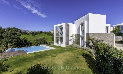 Eye-catching modern designer villa with stunning sea views for sale, frontline golf and ready to move in, East Marbella 11836