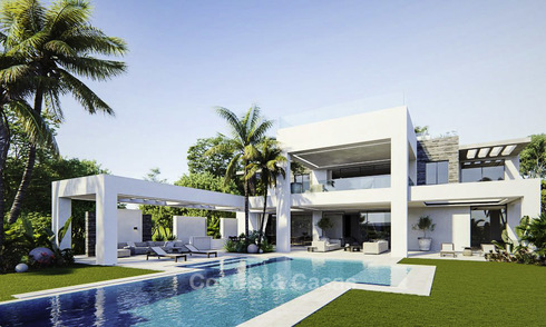 High standing luxury villa in modern contemporary style for sale, frontline golf, Benahavis, Marbella 11723