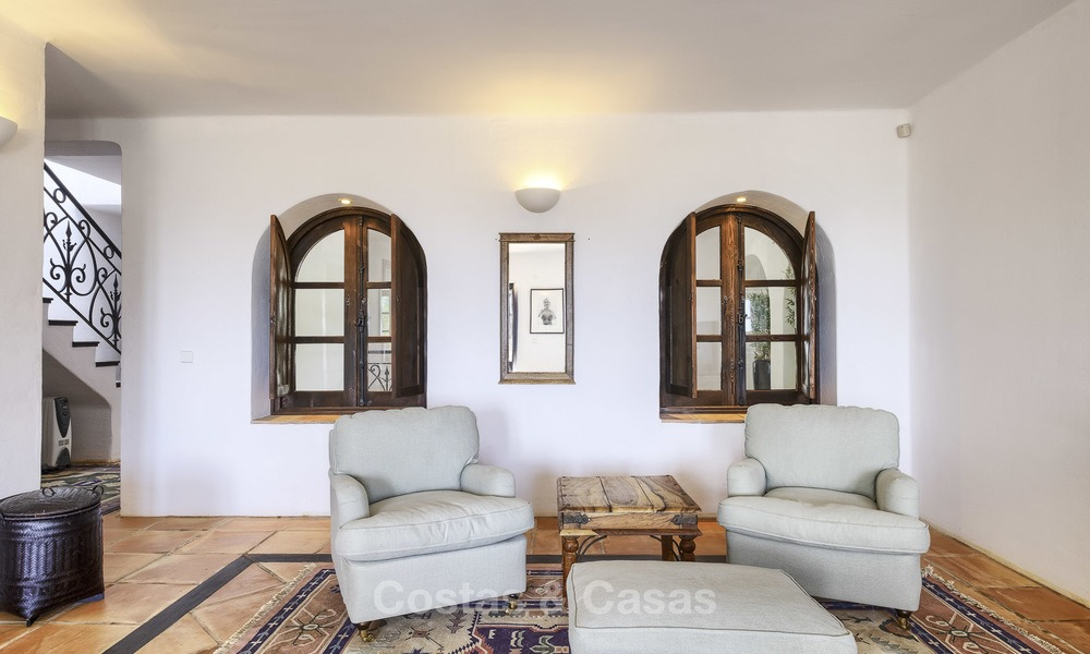 Charming traditional style villa with sea and mountain views for sale in El Madroñal, Benahavis, Marbella 12615