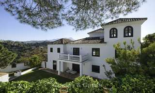Charming traditional style villa with sea and mountain views for sale in El Madroñal, Benahavis, Marbella 12629