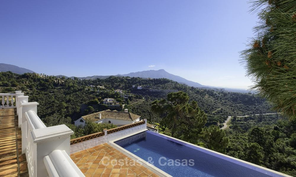 Charming traditional style villa with sea and mountain views for sale in El Madroñal, Benahavis, Marbella 12638