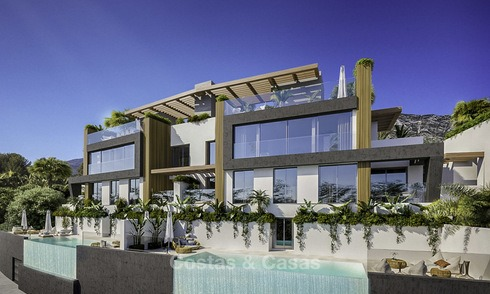 Modern semi-detached new luxury houses with stunning sea views for sale in the Golf Valley, Benahavis, Marbella 12967