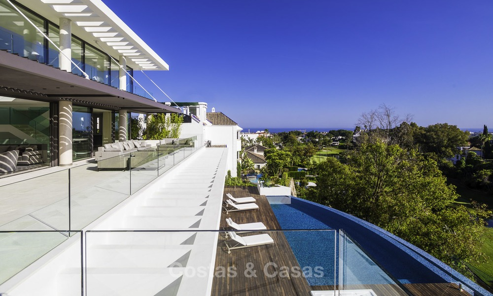 Brand new modern luxury villa with golf and sea views for sale, ready to move into, in a posh golf resort in Nueva Andalucia, Marbella - Benahavis 13260