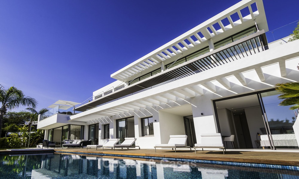 Brand new modern luxury villa with golf and sea views for sale, ready to move into, in a posh golf resort in Nueva Andalucia, Marbella - Benahavis 13265