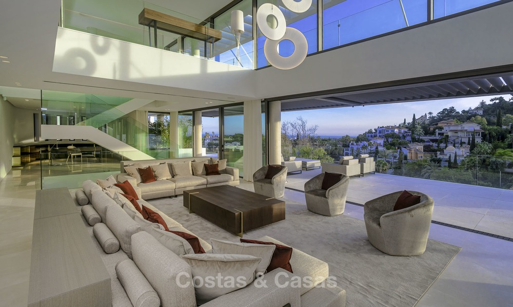 Brand new modern luxury villa with golf and sea views for sale, ready to move into, in a posh golf resort in Nueva Andalucia, Marbella - Benahavis 13280