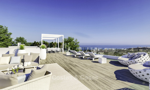 Elegant new modern apartments and penthouses with stunning sea views for sale, walking distance to the beach in Estepona 14996