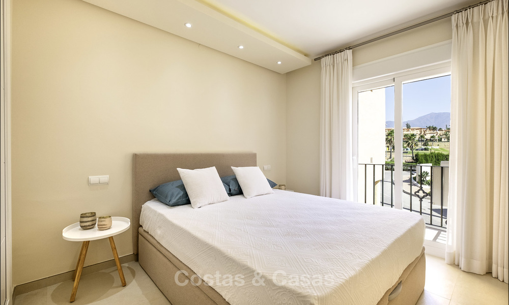 Spacious, fully renovated beachfront townhouse for sale in Estepona. Direct access to the beach and the beach promenade via the communal gardens. 15163