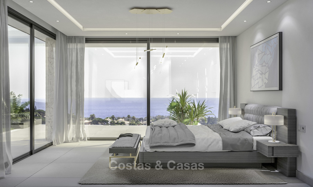 New contemporary luxury villas with panoramic sea and mountain views for sale in Elviria, Marbella 15230