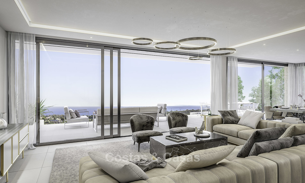 New contemporary luxury villas with panoramic sea and mountain views for sale in Elviria, Marbella 15234