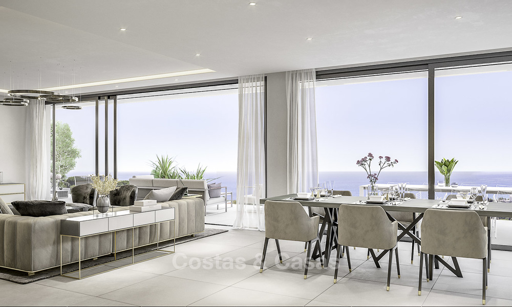 New contemporary luxury villas with panoramic sea and mountain views for sale in Elviria, Marbella 15235