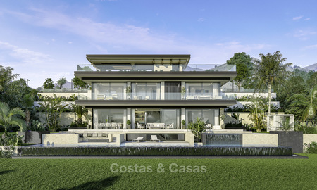 New contemporary luxury villas with panoramic sea and mountain views for sale in Elviria, Marbella 15240