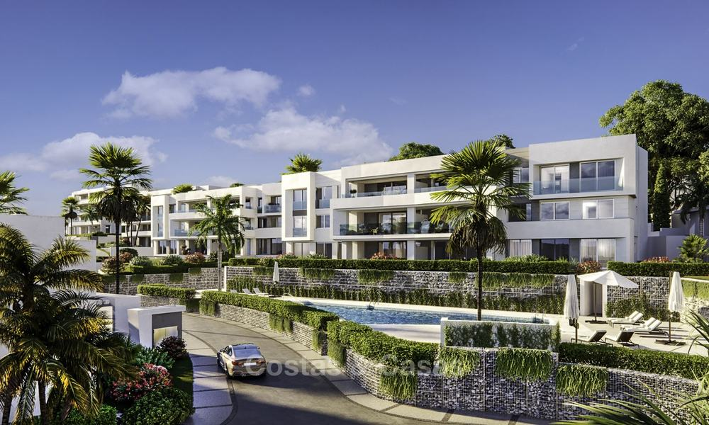 New deluxe contemporary townhouses for sale, front line golf, with stunning sea and golf views, East Marbella 16725