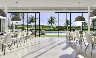 New deluxe contemporary townhouses for sale, front line golf, with stunning sea and golf views, East Marbella 16731