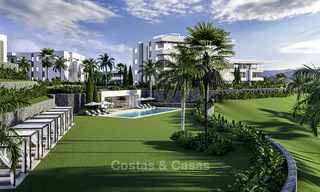 New deluxe contemporary townhouses for sale, front line golf, with stunning sea and golf views, East Marbella 16736
