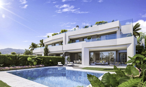 New deluxe contemporary townhouses for sale, front line golf, with stunning sea and golf views, East Marbella 16738