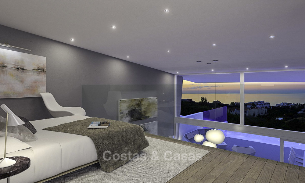 Very stylish avant gardist luxury villas with panoramic sea views for sale in Benalmadena 16715