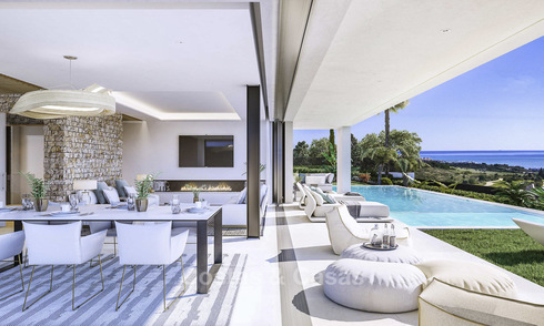 Attractive new modern luxury villas with spectacular sea views for sale, in a golf resort in Estepona 15531