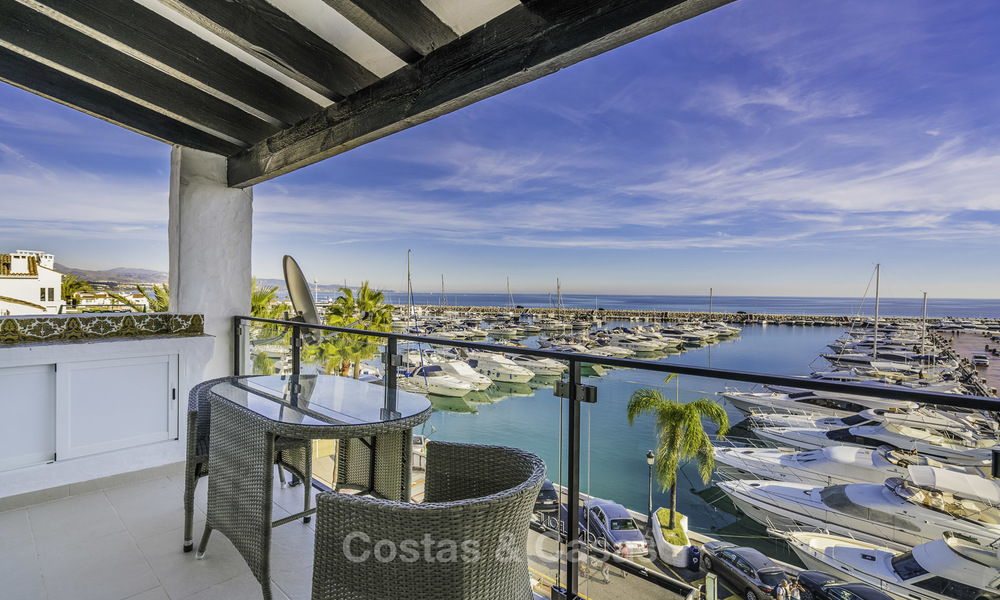 Hip, fully furnished and modernized penthouse apartment for sale, first line in the marina of Puerto Banus, Marbella 16340