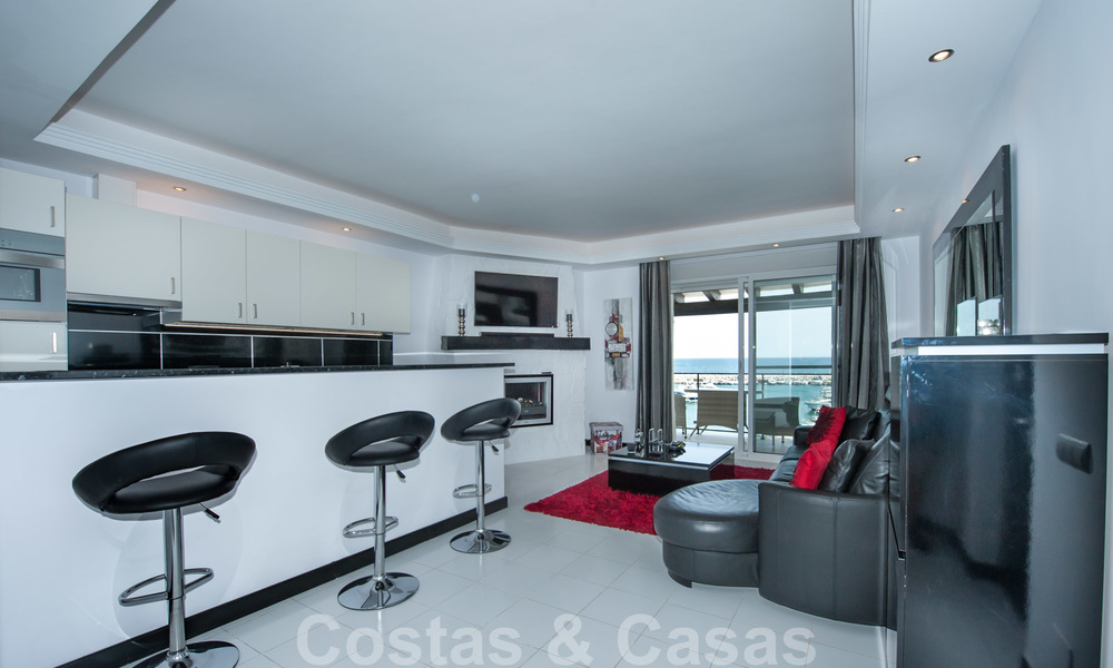 Hip, fully furnished and modernized penthouse apartment for sale, first line in the marina of Puerto Banus, Marbella 28241