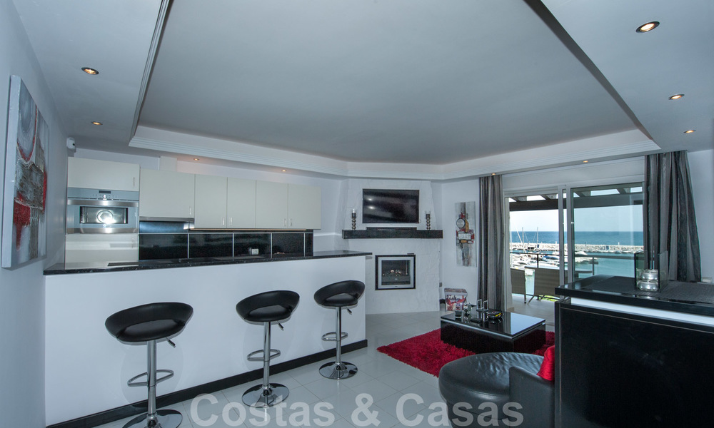 Hip, fully furnished and modernized penthouse apartment for sale, first line in the marina of Puerto Banus, Marbella 28242