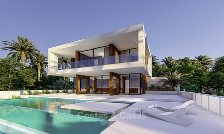 New modern frontline golf villa for sale in a quality golf resort in Estepona, very close to city centre, beach and marina 16388
