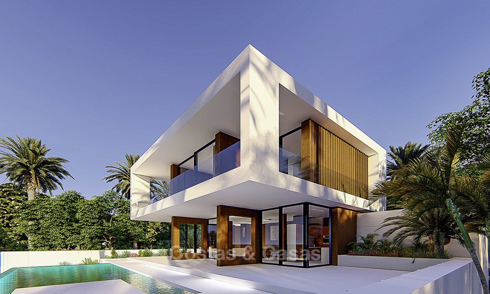New modern frontline golf villa for sale in a quality golf resort in Estepona, very close to city centre, beach and marina 16389
