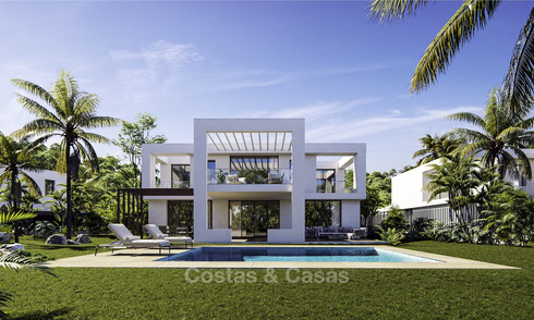 New exclusive contemporary luxury villas for sale on a prime golf course, with sea and golf views, East Marbella 16428