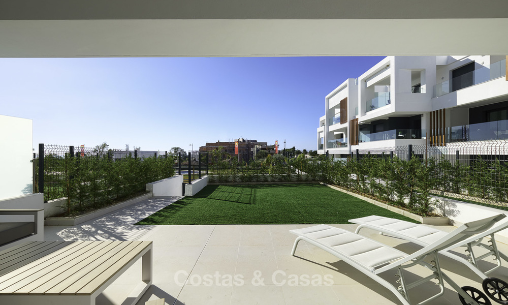 Brand new, move-in ready, modern garden apartment for sale, walking distance to the beach and amenities, between Marbella en Estepona 16961