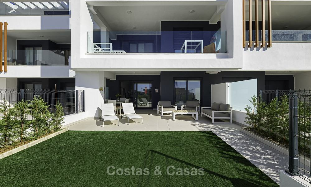 Brand new, move-in ready, modern garden apartment for sale, walking distance to the beach and amenities, between Marbella en Estepona 16963