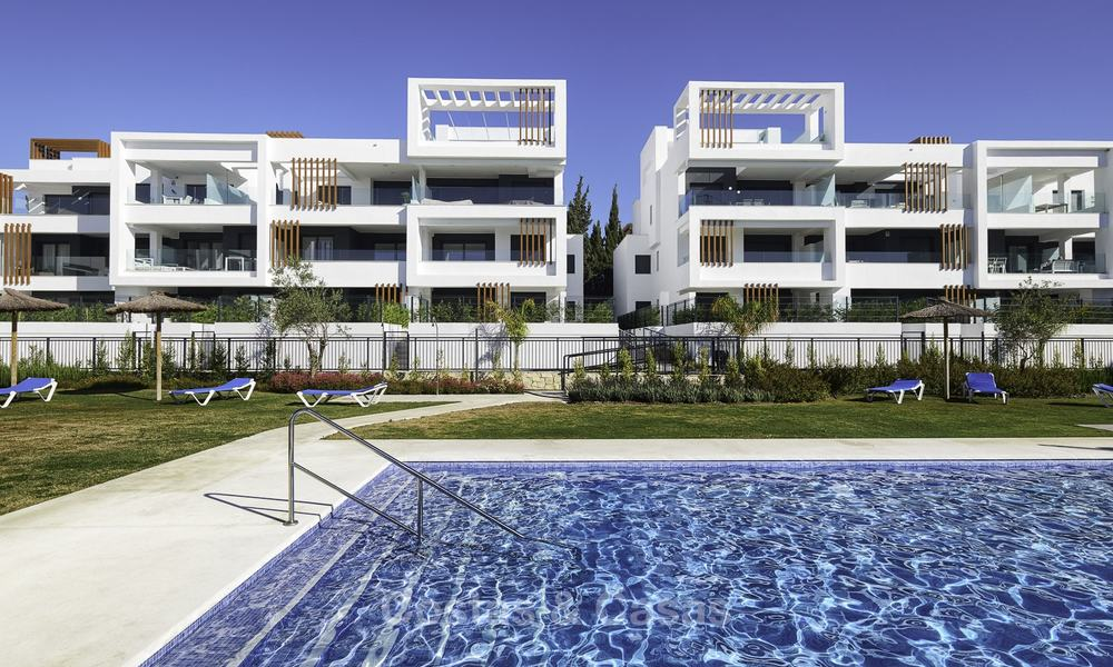 Brand new, move-in ready, modern garden apartment for sale, walking distance to the beach and amenities, between Marbella en Estepona 16965