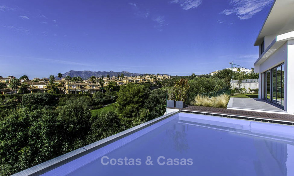New contemporary designer villa for sale, ready to move into, with sea, golf and mountain views, East Marbella 17504