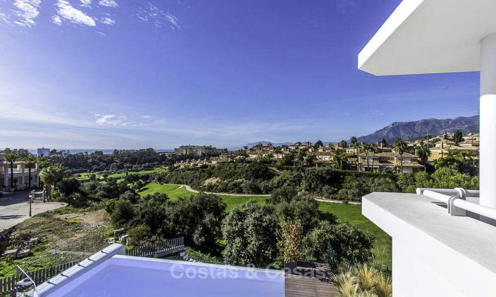 New contemporary designer villa for sale, ready to move into, with sea, golf and mountain views, East Marbella 17522