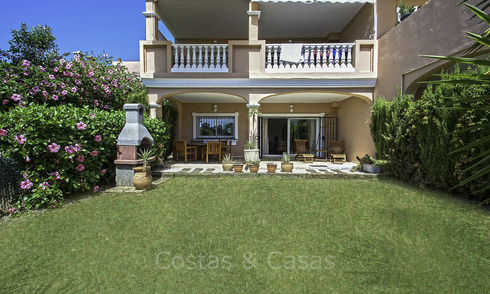 Impressive garden apartment for sale, in a sought after beachside urbanisation between Marbella and Estepona 17874