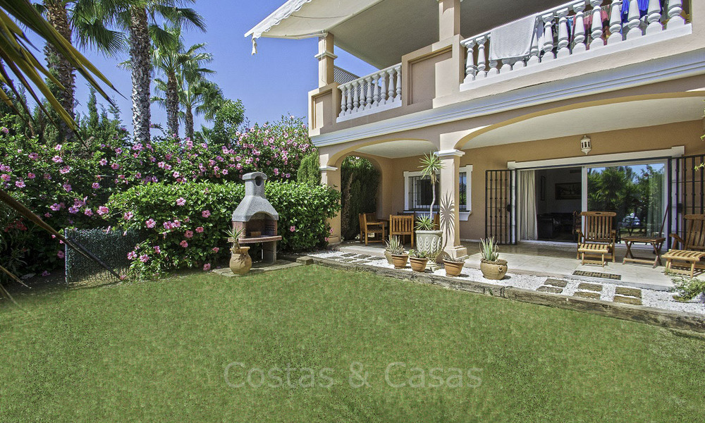 Impressive garden apartment for sale, in a sought after beachside urbanisation between Marbella and Estepona 17875