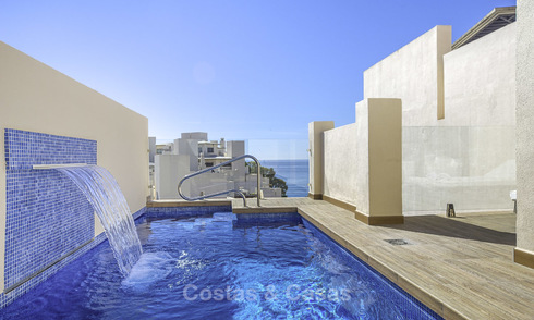Modern penthouse apartment with private pool for sale in a frontline beach complex, New Golden Mile, Estepona 18650