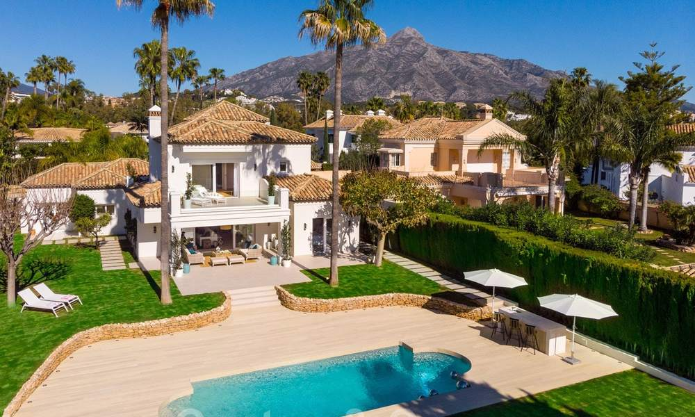 Majestic, completely renovated trendy Spanish villa for sale, frontline golf in Nueva Andalucia, Marbella 21354