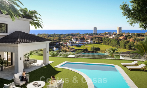 Mediterranean style villas and semi-detached villas with sea- and golf views in Elviria, Marbella 24400