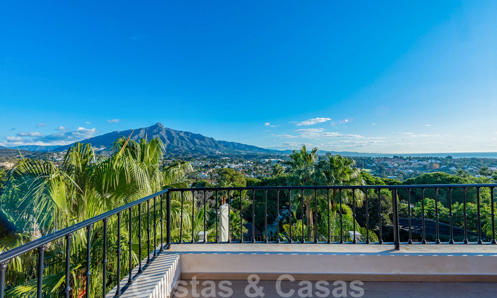 Large luxury villa for sale with stunning panoramic views over the golf valley, the mountains and the Mediterranean Sea in Nueva Andalucia, Marbella 24995