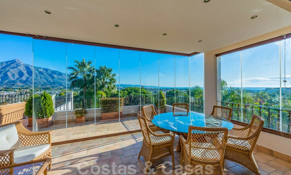 Large luxury villa for sale with stunning panoramic views over the golf valley, the mountains and the Mediterranean Sea in Nueva Andalucia, Marbella 25022