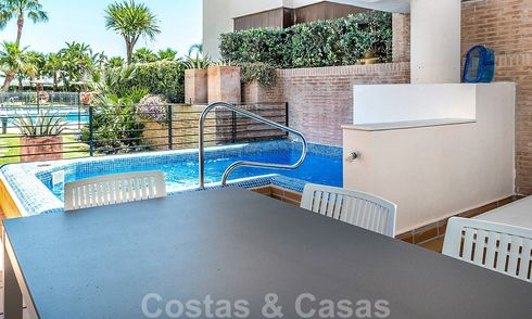 Modern garden apartment for sale in a frontline beach complex with private pool between Marbella and Estepona 25643