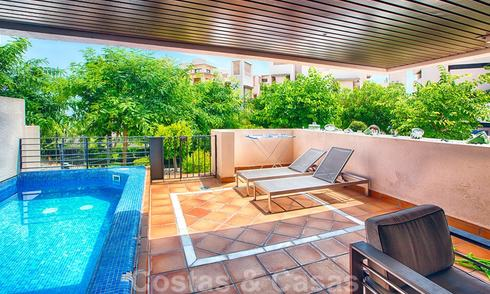 Modern apartment for sale in a first line beach complex with private pool between Marbella and Estepona. Huge price drop! 25680